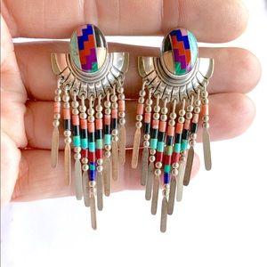 Southwestern Sterling Concho Dangle Earrings